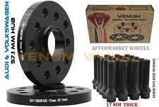 2pc 17mm 5X100 5X112 57.1 I.D Black Hub Centric Wheel Spacer Kit Fits Jetta GTI