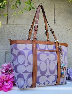 COACH 13097 SIGNATURE/leather E/West gallery shoulder tote purse periwinkle purp