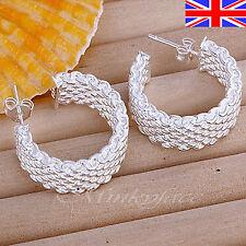 Ladies 925 Silver Hoop Earrings Stud Textured Butterfly Free Gift Bag