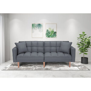 Convertible Futon Sofa Bed Couch Modern Fabric Sleeper w/ Armrest and 2 Pillows