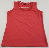 Jones New York Women's Sleeveless Tank Top XL Coral Scoopneck Stretch Cotton Fun