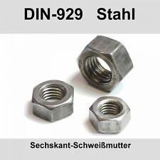 M4 DIN 929 Schweißmuttern Stahl blank Sechskantmuttern Anschweißmuttern 20-500St