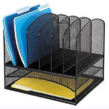 Black Mesh Desk Top Organizer 6 Vertical File Tray Office Table Metal Storage