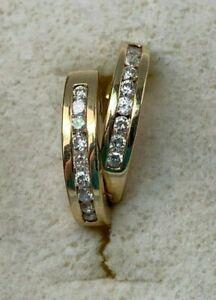 14k Yellow Gold Diamond Huggies Hoop Earrings