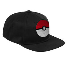 Pokemon Pokeball embroidery Black Flat Peak Hat Cap with Snap Back Gift PKM017F7