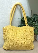 The Sak Yellow Crochet Knit Handbag Bag Shoulder Fob Purse Large VGC