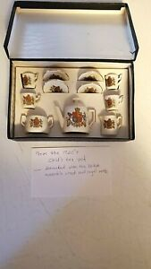 1920's CHILD's TEA SET DECORATED W/BRITISH MONARCH'S CREST AND ROYAL MOTTO