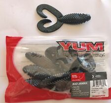 "YUM 4.5"" Bad Jamma Twin Tail Black/Blue Fl - Pkg of 7 Soft Plastic Fishing Lures"