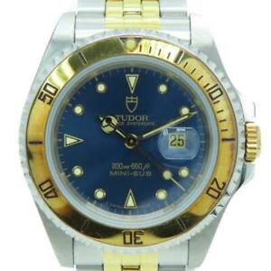 Tudor Mini Sub Watch Blue Dial Stainless Steel Gold Plated 73193