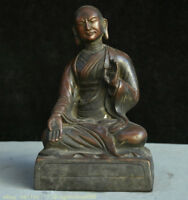 """10 """"vieux bouddhisme en bronze chinois Seat Tsongkhapa Je Tsongkhapa Sculpture"""