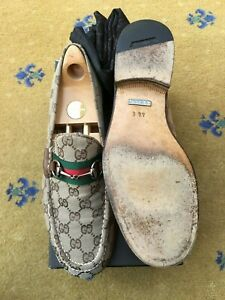 Gucci Mens Shoes Beige Canvas Leather Horsebit Loafers UK 10 US 10.5 EU 44 Web