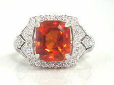 Natural Mexican Fire Opal Orange/Red 1.20 Carat Diamonds 18K White Gold Ring
