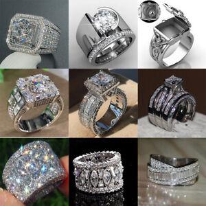 Luxury 925 Silver Rings for Men/Women White Sapphire Wedding Jewelry Size 6-10