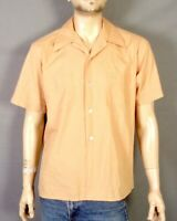 vtg 50s Richman Brothers Solid Tan SS Rockabilly Loop Collar Shirt Square L
