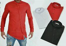 Camicia Uomo Slim Fit Collo Coreana Manica Lunga cotone trasversale tg miste