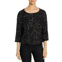 Eileen Fisher Sz L Sequined Silk Scoop Neck Top Blouse 3/4 Sleeve Black $398
