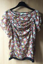 LIL 100% SILK BLOUSE WITH PLEATS/ RUFFLES SIZE 2US/6UK