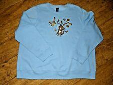 Women's Basic Editions Blue Long Sleeve Pullover Kitty Butterfly Sweatshirt, 2X
