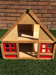 Wooden Childrens Dolls House With Accessories Unisex For Boy Or Girl Toddler Toy