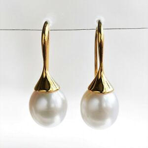 CULTURED PEARL EARRINGS 9.3mm FRESHWATER PEARLS GENUINE 9K GOLD GIFT BOXED NEW