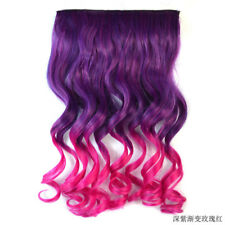 "Ombre Clip In Hair Extensions Full Head 20"" Long Wavy Curly Hairpieces Synthetic"