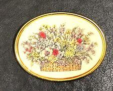Vintage Barlow Signed Floral Pin Brooch Gold Tone Basket Of Flowers