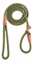 "Remington Braided Nylon Rope British Slip Lead Dog Leash >Green< 1/2"" X 6 ft."
