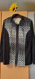 VIA APPIA Damen Shirt Jacke schwarz weiß Gr 42 Doppelreissverschluß Ziersteine