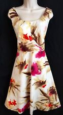 Talbots Dress Size 16 Fit and Flare White Pink Tan Floral Watercolor Cotton
