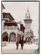 France, Paris, Pavillon de Bosnie et de la Hongrie  vintage citrate print. Expos