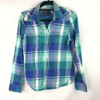 American Eagle Outfitters LS Pearl Snap Collared Plaid Shirt Women's Sz M