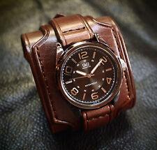 Leather Cuff Watch Brown Bracelet Nathan Drake by Freddie Matara Custom NYC USA