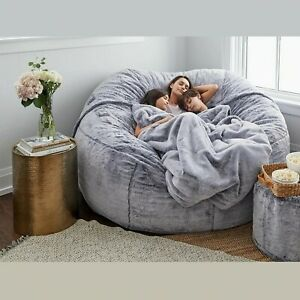 7ft Giant Fur Bean Bag Cover Sofa Bed Cover Living Room Furniture Big Round