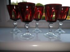 Set of Five French Vintage 70's Luminarc Ruby/Clear Large Port/Aperitif Glasses
