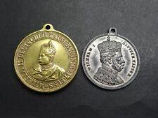 2 tragbare Medaille 90sten Geburtstag 1887 Regierungsantritt 1888geputzt Wilhelm
