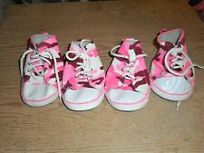 New Pink & White Camo Lace Up Pet Sneakers Paw Protection Size 8 XL,