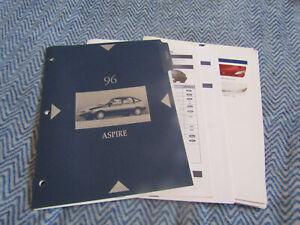 1996 FORD ASPIRE DEALER ALBUM SALESMANS REFERENCE BROCHURE SHEETS SET