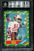 1986 Topps #161 Football JERRY RICE San Francisco 49ers RC ROOKIE BGS 8.5 NM-MT+