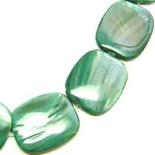 13 Green MOP Mother of Pearl Flat Drum Beads 25x30 P306