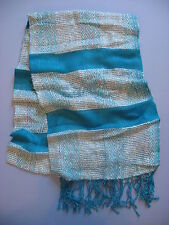 BRIGHT TURQUOISE AND WHITE STRIPED SCARF INDIA