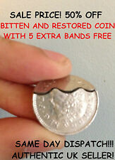 Bitten and Restored 10p / DAVID BLAINE BITE OUT COIN MAGIC! with 5 extra bands!