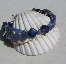 "Lapis Lazuli & Blue Kyanite Gemstone Crystal Bracelet ""Blue Nile"""
