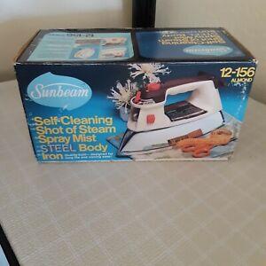 New Box Sealed 1982 Sunbeam Iron Steel Body Spray Mist Steam Model 12-156 Almond