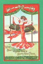 1921 ARTIST SIGNED NEW YEAR POSTCARD BEAUTIFUL LADY CAPE OF BELLS!!