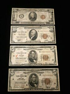 4 Different Brown Seal Notes $5-$10-$20  FRBNs, Hawaii, Chicago,Ma Phili,#12