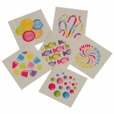 12 Sweet Candy Shop Theme Temporary Tattoos Kid Party Goody Loot Bag Favor