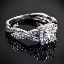 Split Shank Micropave 1.4 Carat Princess Cut Diamond Engagement Ring VS2 F