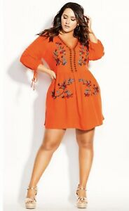 "*NWT* CITY CHIC Embroidered ""Amazonian Dress"" Orange Viscose 3/4 Sleeve sz XXL"