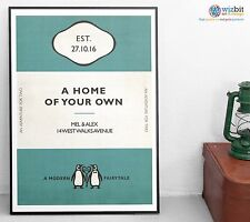 Vintage Penguin Book Style New BABY BOY Personalised  poster print