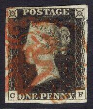 More details for 🌟 gb qv sg2 - 1d penny black - red mx - 4 margins - fine used - sc #1